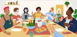 Dinner party cartoon